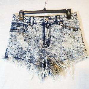 Just USA Acid Wash Distressed High Waisted Shorts